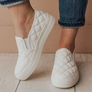 White Quilted Slip on Sneaker